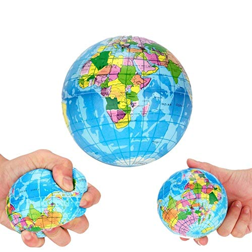 "Koogel 3"" Globe Squeeze Stress Balls (24 Pack)  Earth Ball Stress Relief Toys Therapeutic Educational Balls Bulk"