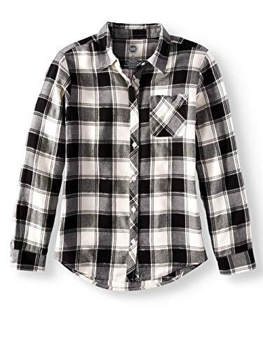 Girls Long Sleeve Button Down Plaid Flannel Shirt (Small (6/6X), Black Soot) -