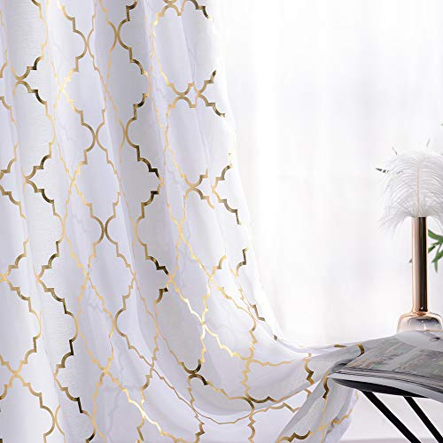 YJ YANJUN semi Voile Sheer Curtains Metallic Trellis Gold Foil Curtain Panel Kids Curtains for Girls Summery Romantic Vibe Set of 2 Panles, 52 x 84 inch (Window White Curtains And Gold)