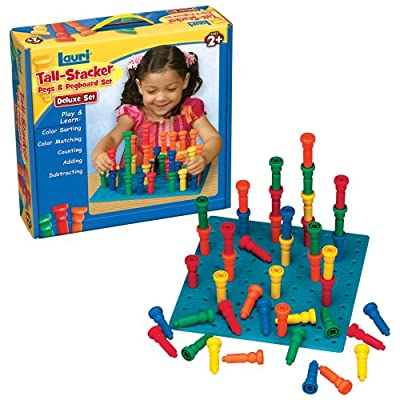 Lauri Toys Deluxe Tall-stacker Pegs And Pegboard Set by Patch Products