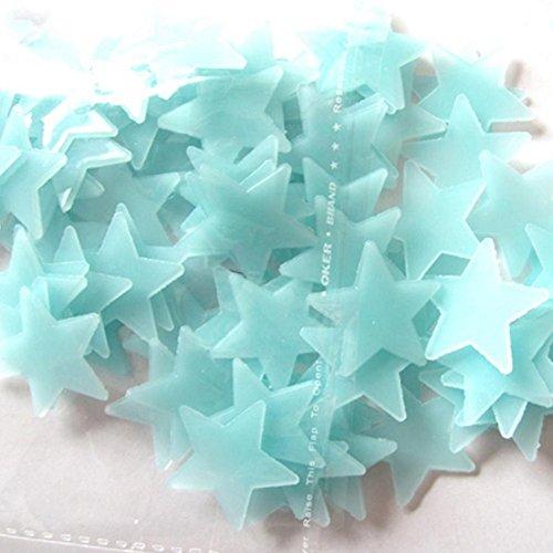 AIMTOPPY 100PC Kids Bedroom Fluorescent Glow In The Dark Stars Wall Stickers (blue) (Glow In The Dark Stars Under $1)