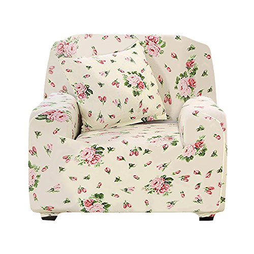Boshen Stretch Seat Chair Covers Couch Slipcover Sofa Loveseat Cover 9 Colors/4 for 1 2 3 4 Four People Sofa + 1 Pillowcase (Chair, Floral) (Floral Chair Slipcover)