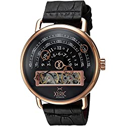 Xeric Men's Automatic Stainless Steel and Leather Watch, Color:Black (Model: HLG-3018)