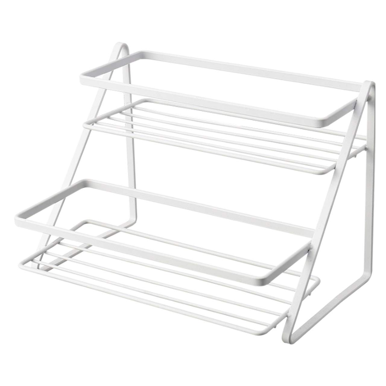 ASIERY Double Wrought Iron Spice Holder Kitchen Storage Rack - White by ASIERY