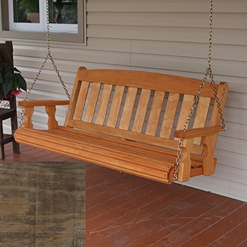Amish Heavy Duty 800 Lb Mission Treated Porch Swing with Hanging Chains (4 Foot, Dark Walnut Stain)