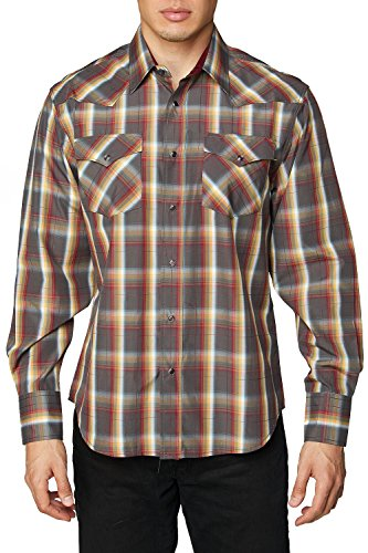 Rodeo Clothing Co. Men's Western Cowboy Pearl Snap Long Sleeve Plaid (Slim Western Pearl Snap Shirt)