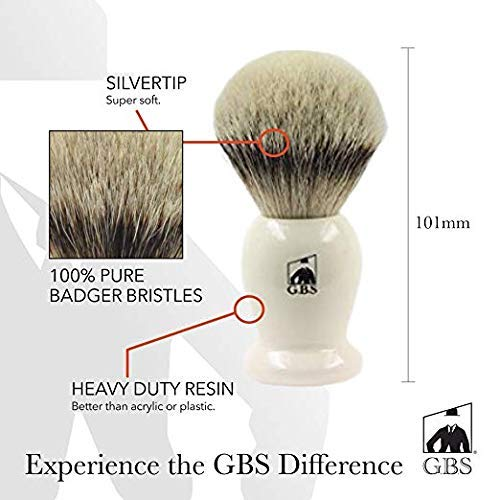 GBS 100% Silvertip Badger Hair Shaving Brush Ivory Handle 24 Mm. Knot Developed for Your Best Shave of Your Life. Compliments Any Razor, Double Edge and Straight Razor Ultimate Shaving + Chrome Stand
