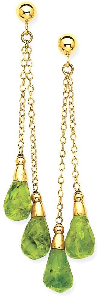 ICE CARATS 14k Yellow Gold Green Peridot Drop Dangle Chandelier Post Stud Earrings Fine Jewelry Gift Set For Women Heart