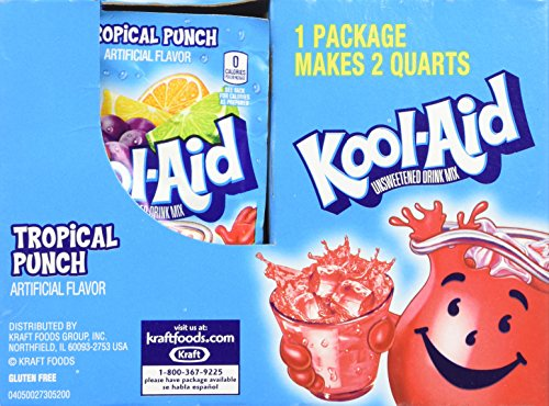 Kool-Aid Tropical Punch Unsweetened Soft Drink Mix, .016 Oz (Bonus Pack of 50 Packets)