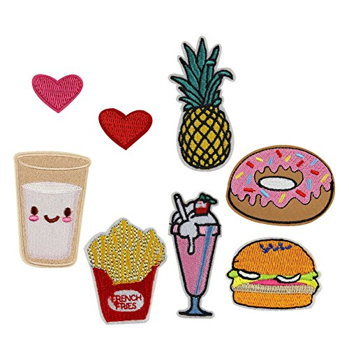 (Shineweb Embroidered Patches, 8Pcs Donut Milk Ice Cream Fruit Embroidery Sew DIY Iron On Patch Applique)