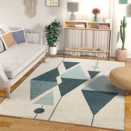 Well Woven Gatlin Modern Art Deco Abstract Blue & Ivory Area Rug 8x11 (7'10
