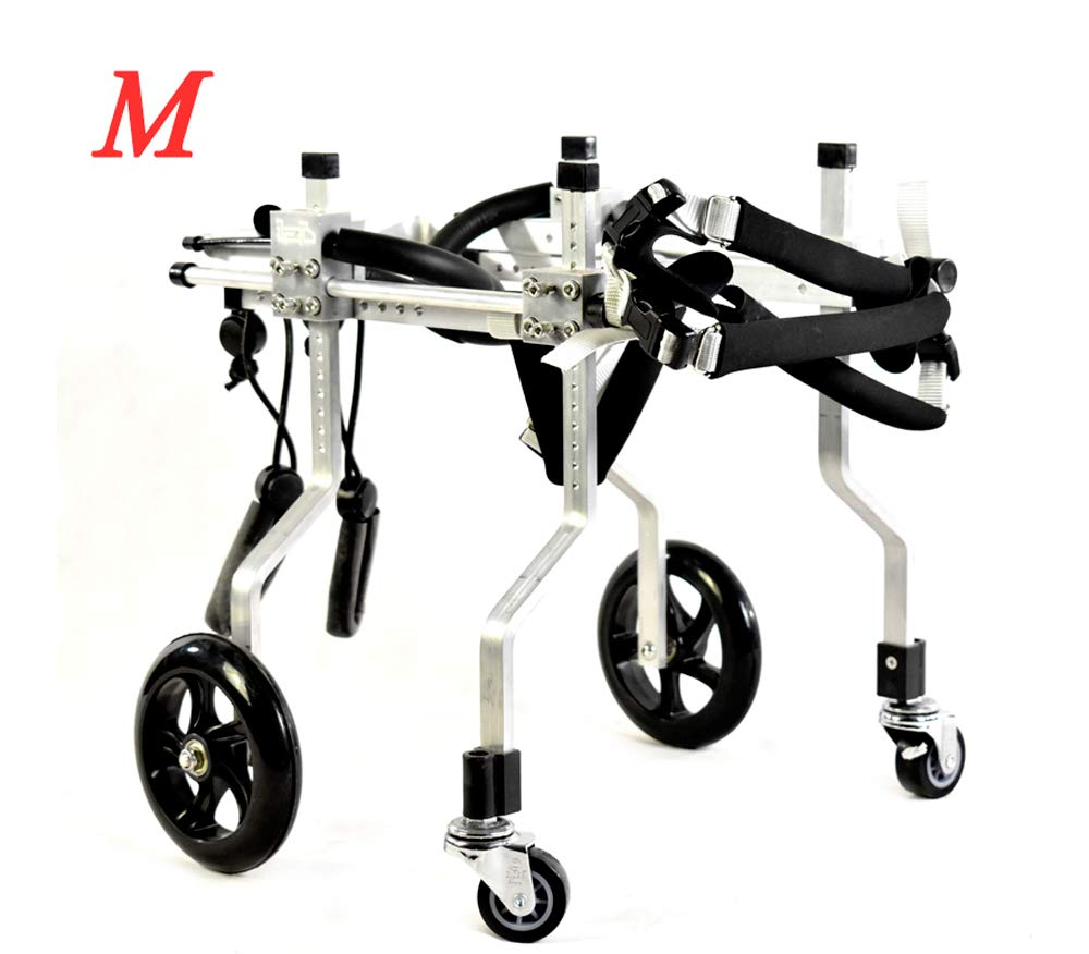 Silver M03Adjustable Pet Pet Pet Wheelchair 4 Wheel Med Dog