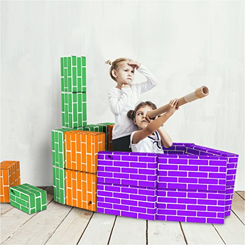 Hey! Play! Cardboard Building Block Set 30 Piece Colorful, 3 Size Corrugated Educational Fun Stem Learning Boys Girls by Hey! Play!