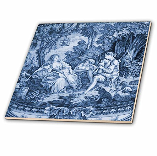 (3dRose ct_34728_1 Toile I Ceramic Tile, 4-Inch, French Blue)