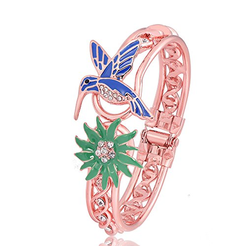 PANGRUI Exquisite Enamel Hummingbird and Grass Charm Bangle Bracelet with Cool Design Crystal Hoop (Rose gold)