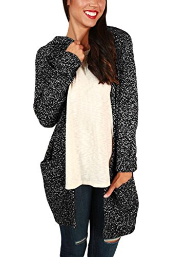 FARYSAYS Women's Heathered Long Sleeve Open Front Hooded Long Knitted Cardigan Sweaters Outerwear with Pocket Black X-Large