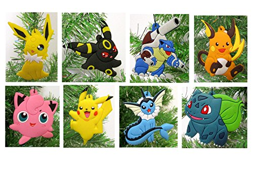 Pokemon 8 Piece Christmas Tree Ornament Set - Unique Shatterproof Plastic Design Around 2.5