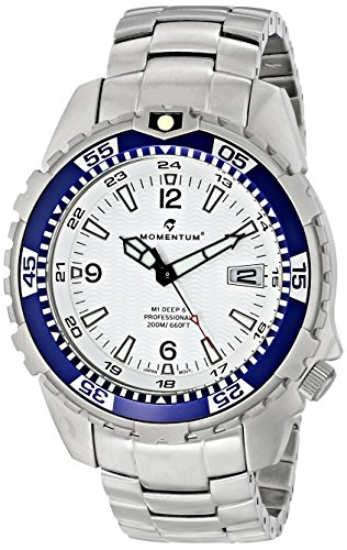 Momentum Men's 1M-DV06W00 M1 Deep 6 Analog Display Japanese Quartz Silver Watch - M1 Mens Dive Watch