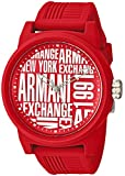 Armani Exchange Men's Quartz Rubber and Silicone Casual Watch, Color Red (Model: AX1445)