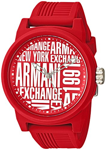 Armani Exchange Men's Quartz Rubber and Silicone Casual Watch, Color:Red (Model: AX1445)