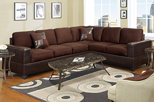 Divano Roma Furniture Classic Large 112-Inchx35-Inch 2pc Microfiber and Faux Leather Sectional Sofa with Accent Pillows, Chocolate