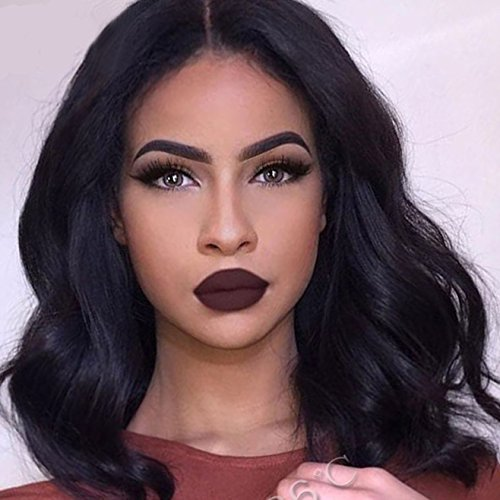 Search : AOSI WIG Short Black Curly Middle Part African American Wigs Hair Heat Resistant Fiber Wig for Women
