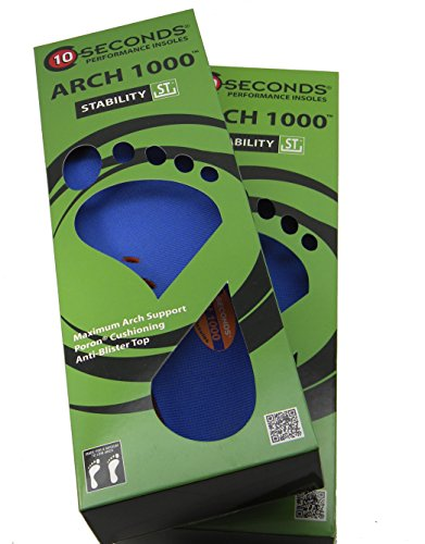 ((2 Pair Pack) Ten Seconds performance Arch 1000 Stability Shoe Insoles Inserts (M5-6 W7.5-8.5, UNISEX))