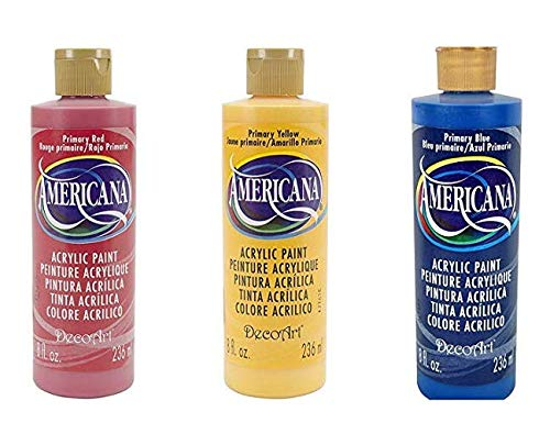 Americana Paint Oz 8 Red - DecoArt Americana Primary Color Acrylic Paint Set - 8 Ounce Bottles - Bundle of 3 Colors: Red, Yellow and Blue
