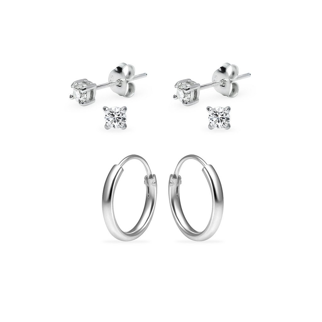 Three Pairs Sterling Silver 10mm Endless Hoops and 3mm Round CZ Stud Unisex Cartilage Earrings Set
