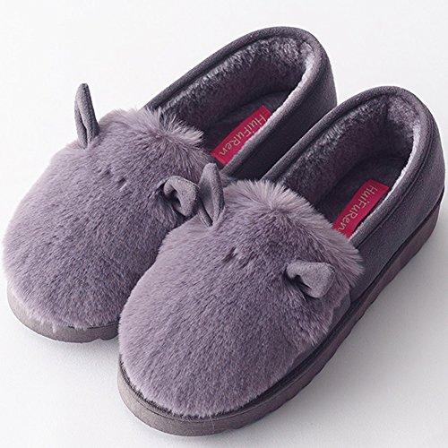 Pantoufles Chaud Pantoufles Peluche Confortable Hiver Femmes d'intérieur Foncé Chaussons Gris wYAP1qnd