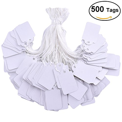 BBX 500 pieces white tags with string marking strung tags writable tags display label for product jewelry clothing tags, 1.375 x 0.875 inches, pack of 500 pieces