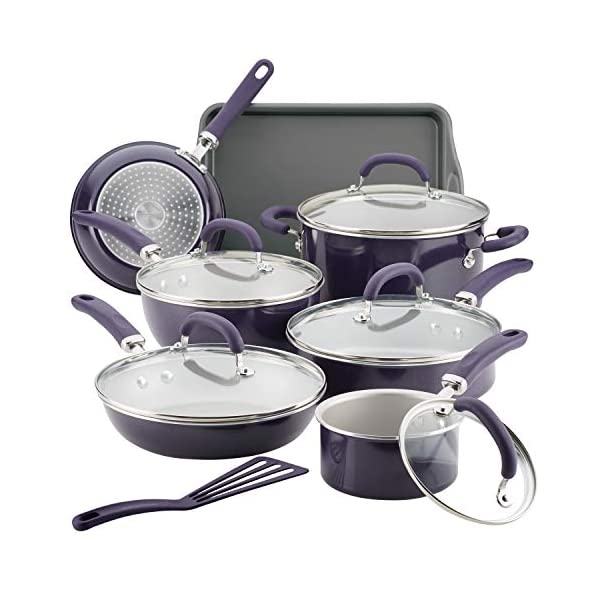 Rachael Ray Create Delicious Nonstick Cookware Pots and Pans Set, 13 Piece, Purple Shimmer 1
