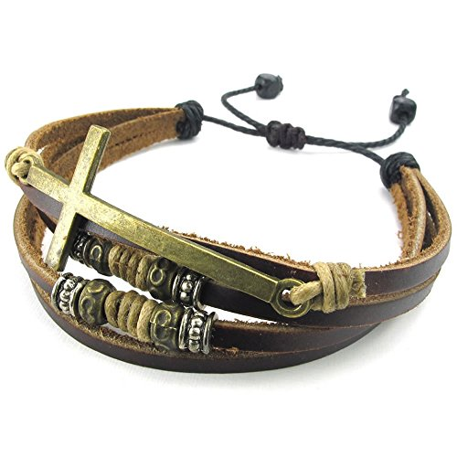 KONOV Womens Leather Bracelet Braided