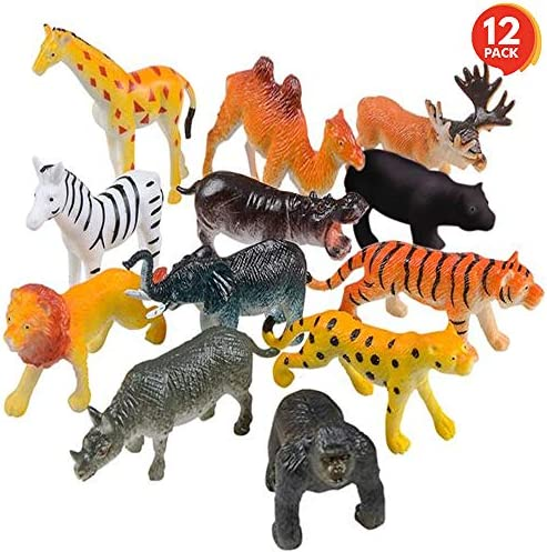 ArtCreativity Safari Animal Figurines Set for Kids - Pack of 12 - Assorted 2.5 Inch Small Animal Figures - Sturdy Plastic Toys - Fun Zoo Theme Birthday Party Favor - Great Gift Idea for Boys and Girls
