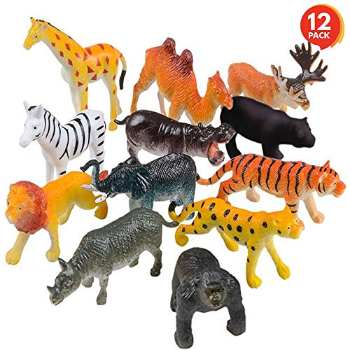 ArtCreativity Safari Animal Figurines Set for Kids - Pack of 12 - Assorted 2.5 Inch Small Animal Figures - Sturdy Plastic Toys - Fun Zoo Theme Birthday Party Favor - Great Gift Idea for Boys and Girls -