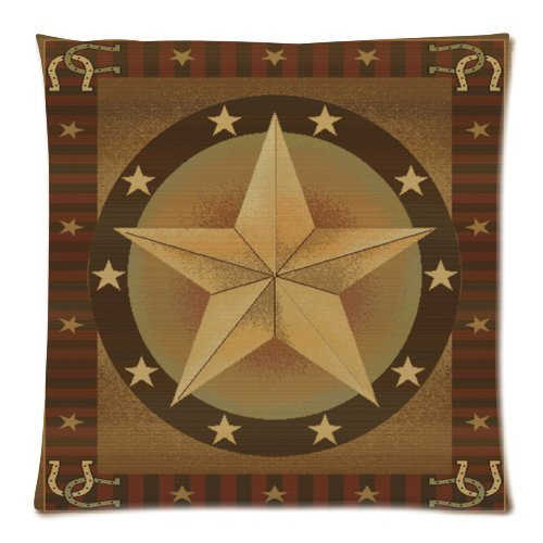 Western Texas Star Zippered Pillowcase Throw Pillow Case