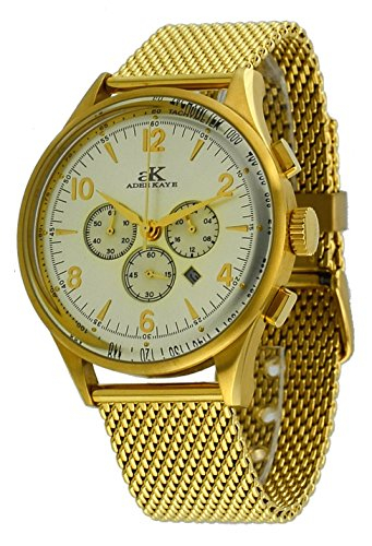 Adee Kaye #AK9040-MG Men's Retro Collection Gold Tone Stainless Steel Mesh Band Silver Dial Chronograph Watch