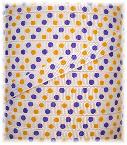 (Ribbon Art Craft Perfect Solution for Any Project Decoration 1 Yard 3/8 White Yellow Gold Purple PIN Cheer DOTS Grosgrain Ribbon 4 HAIRBOW Bow 5YD)