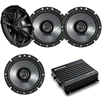 Car Speaker With Amplifier Set - 4 Kicker 40CS674 6-3/4 Inch 2-Way Car Stereo speakers + Enrock EKMB500ABT 400W 4-Channel Bluetooth Car / Marine Amplifier