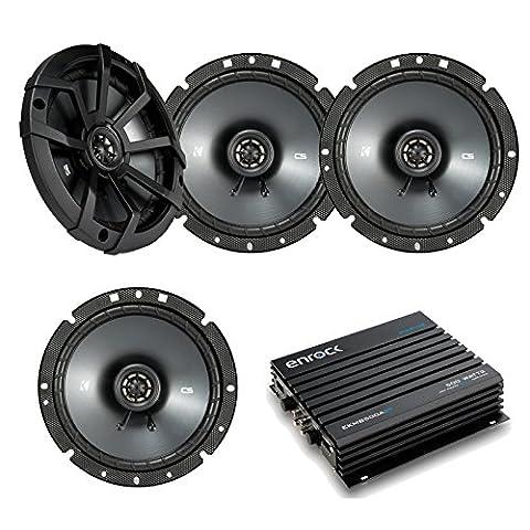 Car Speaker With Amplifier Set - 4 Kicker 40CS674 6-3/4 Inch 2-Way Car Stereo speakers + Enrock EKMB500ABT 400W 4-Channel Bluetooth Car / Marine (Dhd External)