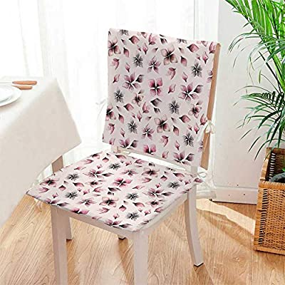 Mikihome Seat Cushion Elegance Blooms Feminine Florets Design Dried Rose Light Pink 2 Piece Set Home Fashions seat Cushion Set Mat:W17 x H17/Backrest:W17 x H36