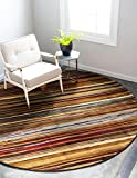 Cheap Unique Loom Barista Collection Modern Multi Striped Contemporary Beige Round Rug (8′ x 8′)