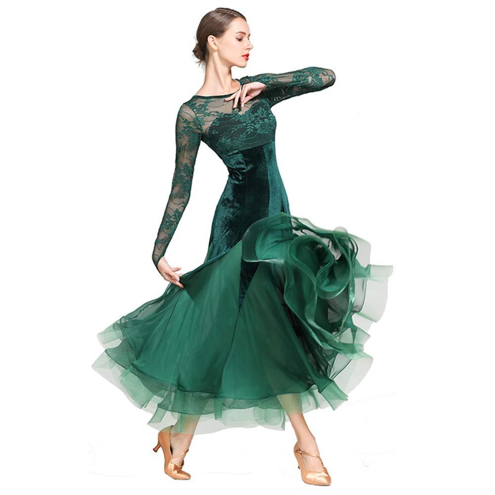 vert XL XHTW&B Femmes Dentelle Manches Longues Adulte Danse Jupe Les Robes Col Rond Flexible étape Les Costumes élégant Fête Concurrence Robe