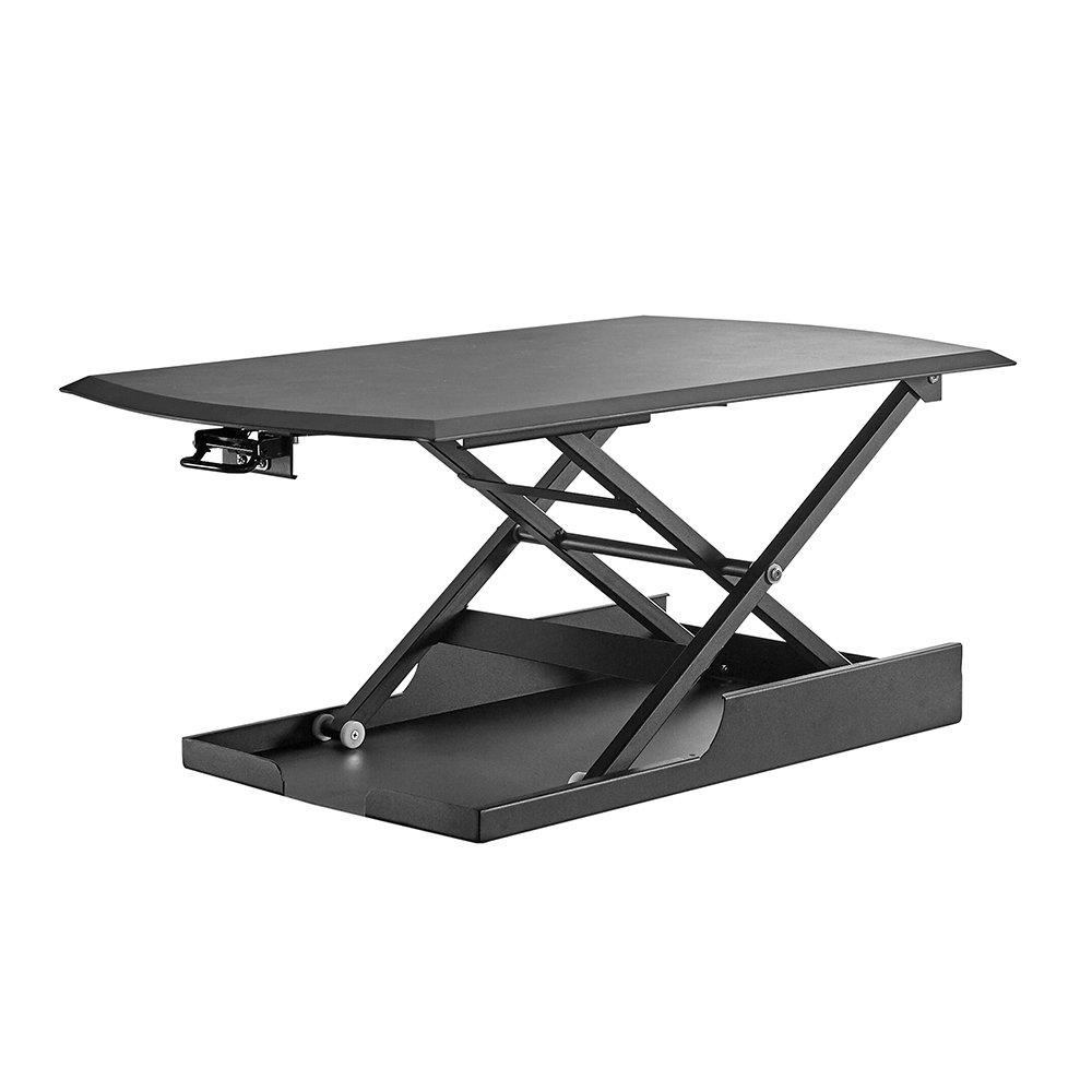 Soges Réglable en hauteur bureau 86 cm Sit-Stand Workstation Ordinateur de bureau table - Noir ZHLX-6-B