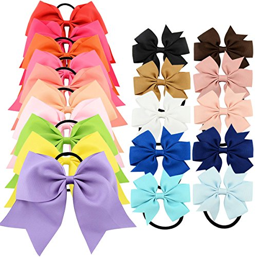 """Price comparison product image YOY 20 Pcs Fashion Baby Girls Boutique Hair Ties Ponytail Holders - Stretchy Elastic Ropes Rubber Bands Hair Accessories Set with Grosgrain Ribbon Bows 8"""" and 3"""" for Toddlers Teens Kids"""