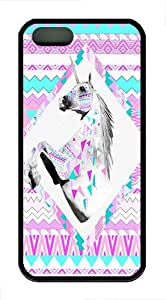 IMARTCASE iPhone 5S Case, Hipster Unicorn Aztec Print Durable Case Cover for Apple iPhone 5S/5 TPU Black