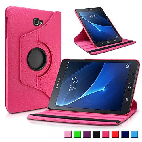 Samsung Galaxy Tab A 10.1 Hülle Case, Infiland PU Ledertasche lederhülle 360° Drehbarer Stand Smart Cover Case Schutzhülle Tasche Etui für Samsung Galaxy Tab A 10.1 Zoll (2016) Tablet-PC(mit Auto Schlaf / Wach Funktion)(Magenta)