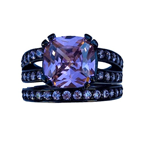 JIAwelry Women's Black Rhodium Plated Pink Cubic Zirconium 2pcs Wedding Rings Size 7