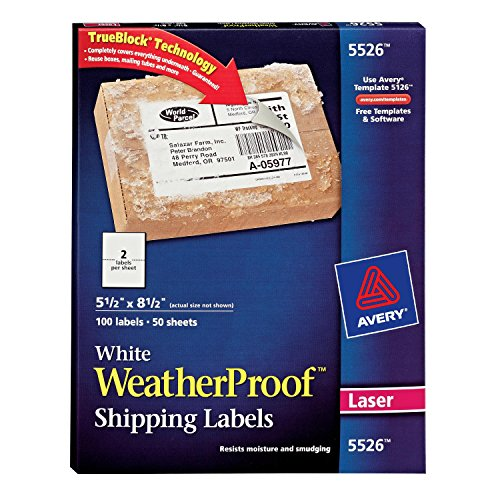 Weatherproof Laser Labels (Avery WeatherProof Mailing Labels with TrueBlock Technology for Laser Printers 5-1/2