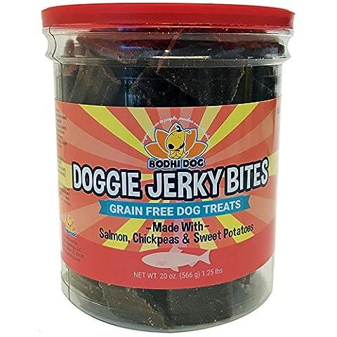 Premium Healthy Dog Jerky Treats   Grain Free Salmon Dog Treat Bites   Natural Snack Made With Salmon, Chickpeas & Sweet Potatoes   No Corn, Wheat or - Italian Jerky